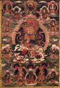 Vaishravana (Buddhist Protector): Riding a Lion
