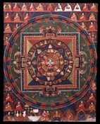Pratisara (Buddhist Deity): (Four faces, Eight Hands)