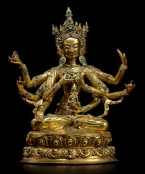 Ushnishavijaya (Buddhist Deity): (three faces, eight arms)