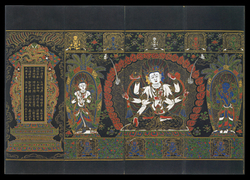 Ushnishavijaya (Buddhist Deity): (three faces, eight arms)