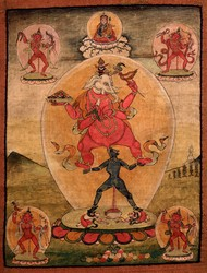 Ganapati (Indian God & Buddhist Deity): Red (4 hands)