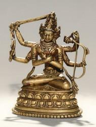 Manjushri (Bodhisattva & Buddhist Deity): Manjuvajra, Namasangiti (3 faces, 6 hands)