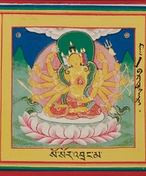 Pratisara (Buddhist Deity): (Mitra Gyatsa: Four Faces, Twelve Hands)