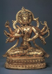 Pratisara (Buddhist Deity): (Four faces, Eight Hands)