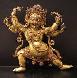 Bhurkumkuta (Buddhist Deity): (Three faces, six arms)