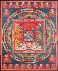 Yamari, Krishna (Buddhist Deity): (3 Faces, 6 Hands)