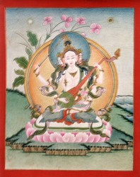 Sarasvati (Indian Goddess & Buddhist Deity): White (3 faces, 4 hands)
