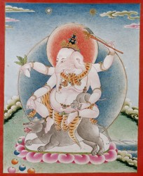 Ganapati (Indian God & Buddhist Deity): White (4 hands)