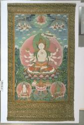 Sitatapatra (Buddhist Deity): (Three faces, eight hands)