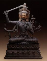 Manjushri (Bodhisattva & Buddhist Deity): Manjuvajra, Namasangiti (3 faces, 4 hands)