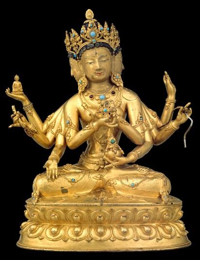 ushnishavijaya buddhist deity three faces eight arms
