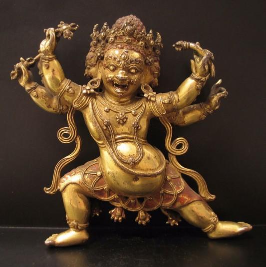 bhurkumkuta buddhist deity three faces six arms himalayan art